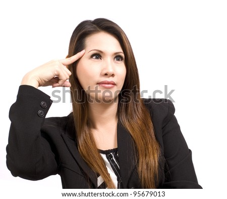 business woman with her finger on her head