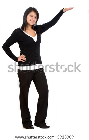 Business woman with her hand on a display product
