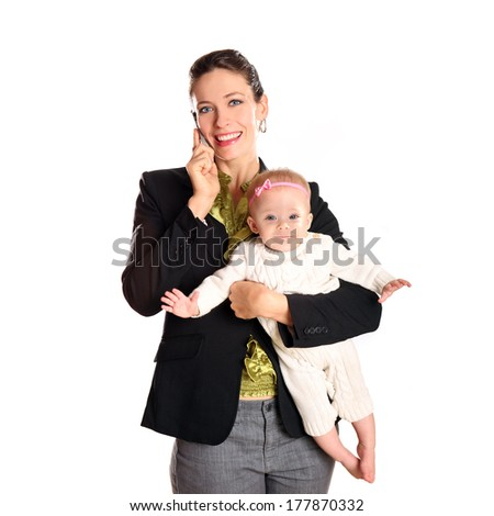 Business woman with her infant child - stock photo