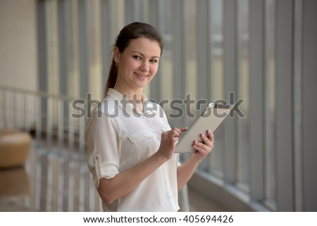 business woman with ipad