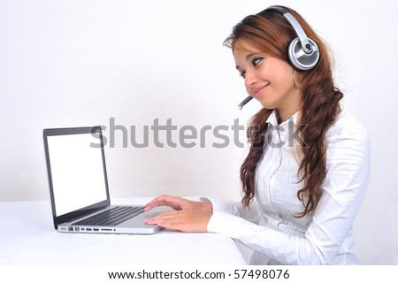 Business Woman with laptop and Headphone