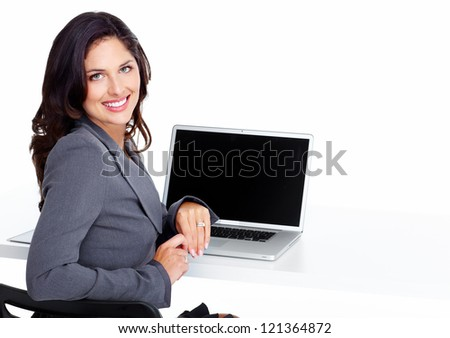 Business woman with laptop computer isolated on white background - stock photo