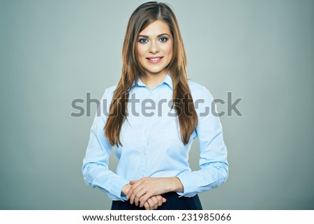 business woman with long hair. studio isolated portrait. - stock photo