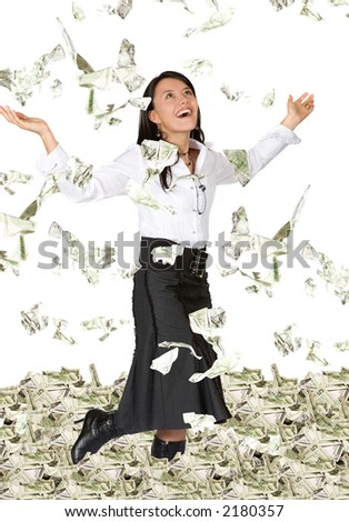 business woman with lots of money looking very happy over white - stock photo