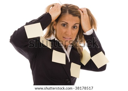 Business woman with many reminders on her body - stock photo