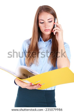 Business woman with mobile phone and folder, isolated on white - stock photo
