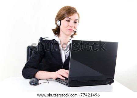 Business woman with notebook and headset.