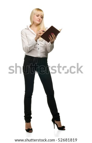 business woman with notebook on white background isolated