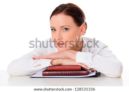 Business woman with notebooks against white background - stock photo