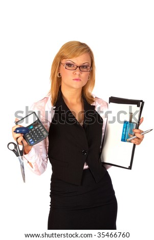 business woman with office equipment