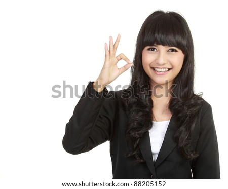 business woman with ok sign isolated on white background - stock photo