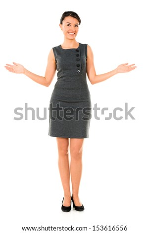 Business woman with open arms smiling - isolated over a white background