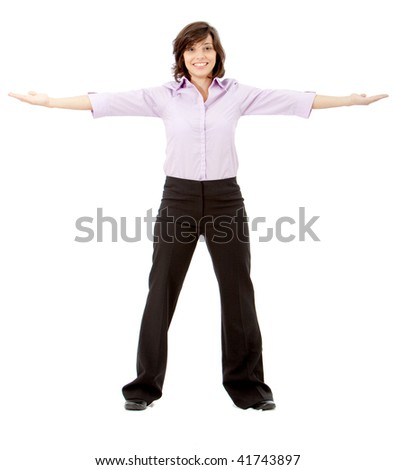 business woman with opened arms isolated over a white background