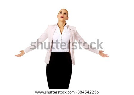 Business woman with outstretched hands - stock photo