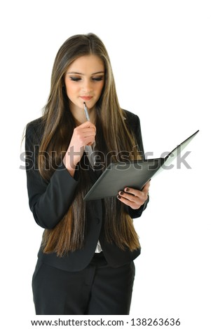 Business Woman with Pen on Chin Thinking - stock photo