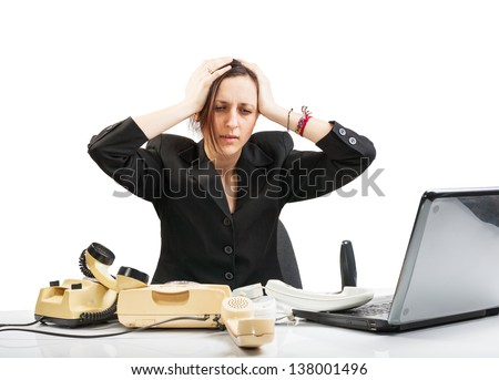 Business woman with phone and laptop under stress on isolated white background