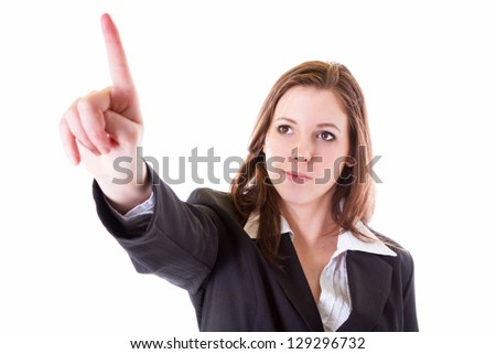 Business woman with pointing finger isolated over white - stock photo