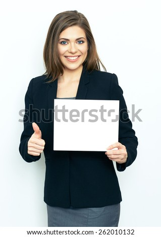 Business woman with sign board show thumb up. studio portrait on white background. isolated.