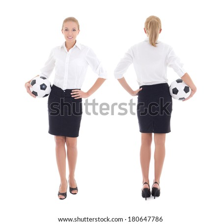 business woman with soccer ball isolated on white background, front and back view - stock photo