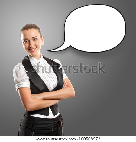Business woman with speech bubble, looking on camera