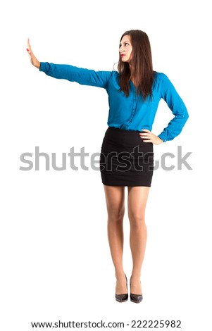 Business woman with stop hand gesture. Full body length isolated over white background.  - stock photo