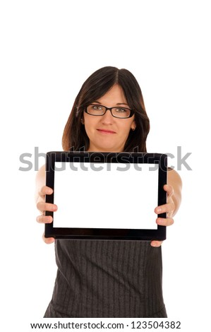 Business woman with tablet computer / Business woman - stock photo