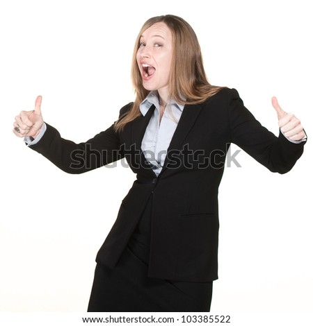 Business woman with thumbs up and happy face