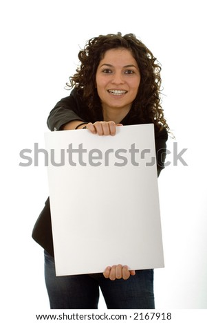 business woman with white leaf for text