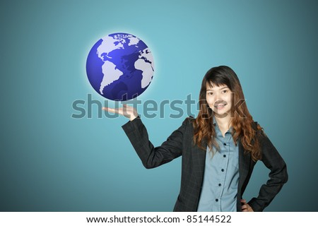 business woman with world in hand