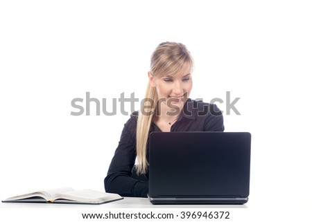 business woman working at a laptop, isolate