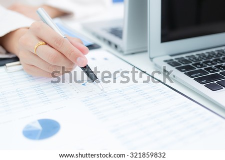 business woman working at office. accounting