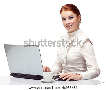Business woman working on her laptop.