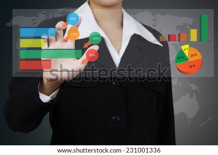 business woman writing a business solution concept on virtual screen. - stock photo
