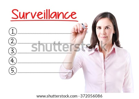 Business woman writing blank Surveillance list.Isolated on white.  - stock photo