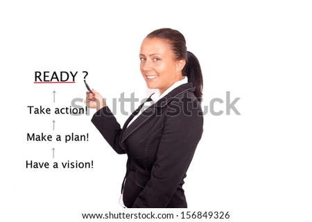 business woman writing - business concept - stock photo