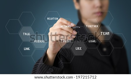 Business Woman Writing Business Graph Concept - stock photo