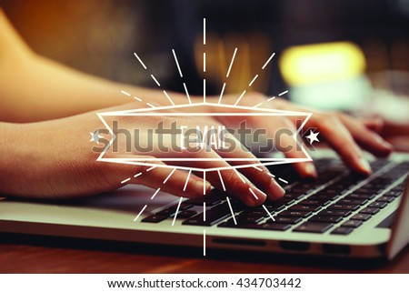 Business woman writing E-Mail on the computer - stock photo