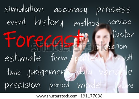 Business woman writing forecast concept. Blue background. - stock photo