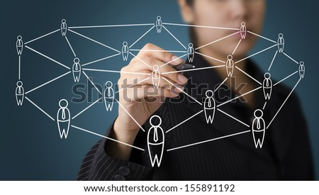 Business Woman Writing Human Connection Concept - stock photo
