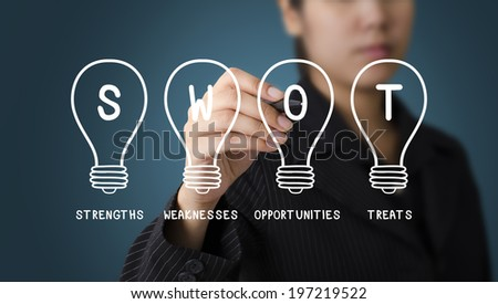 Business Woman writing Light Bulb SWOT concept - stock photo