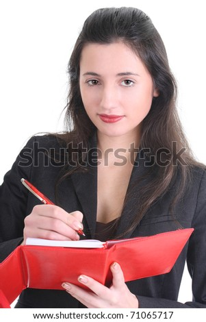 Business woman writing on a notepad over white - stock photo