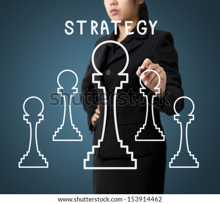 Business Woman Writing Strategy Diagram Concept - stock photo