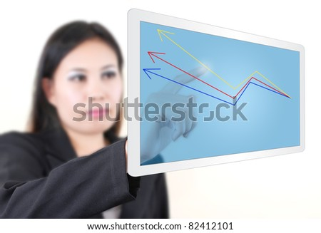 Business woman writing up graph on tablet screen.