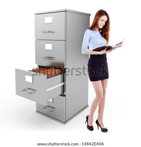 business womanholding a file standing near a 3d file cabinet, on white background - stock photo