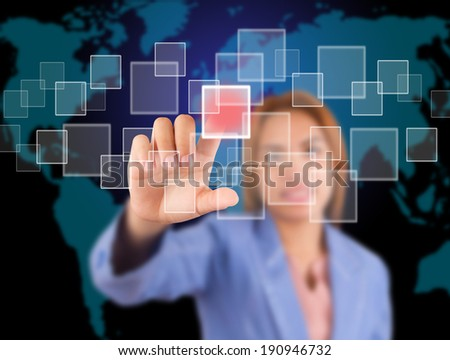 Business women are touch buttons, on gray background.