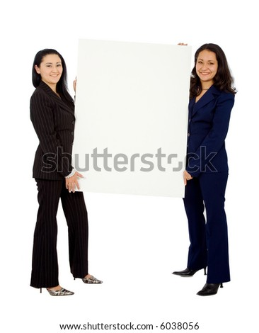 business women doing a presentation isolated over a white background - stock photo