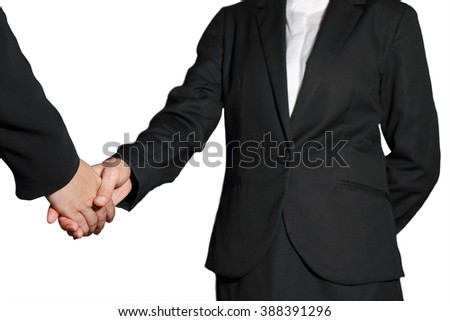 Business women handshake on white background as Partnership concept.