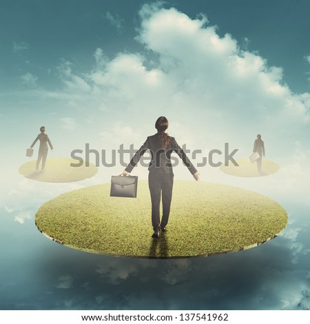 Business women holding bag in floating grass land over the sky