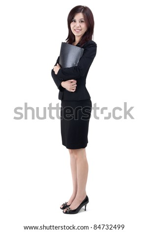 Business Women holding file standing on white background - stock photo