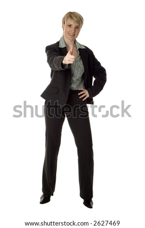 business women pointing a finger on white background - stock photo
